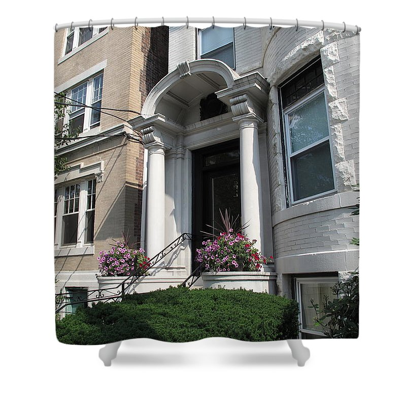 Architecture Shower Curtain featuring the photograph Boston Doorway by Barbara McDevitt