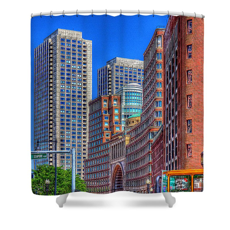 Hdr Shower Curtain featuring the photograph Boston Financial District by Rick Mosher
