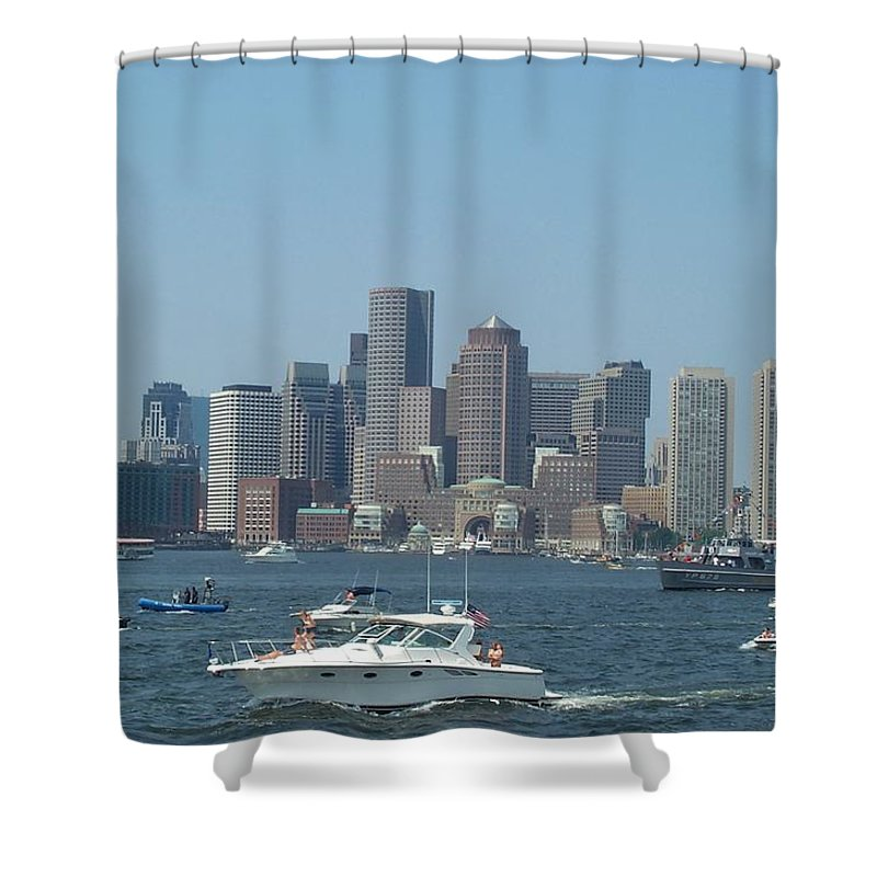 Boston Harbor Shower Curtain featuring the photograph Boston Harbor July Fourth by Barbara McDevitt