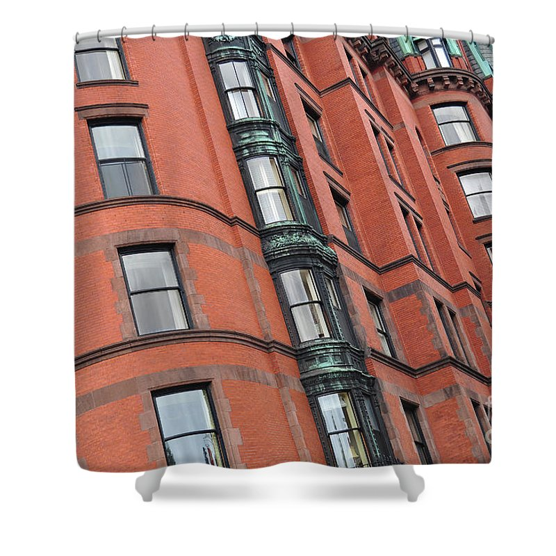 City Skyscraper Shower Curtain featuring the photograph Boston Ma Building Facade by Staci Bigelow