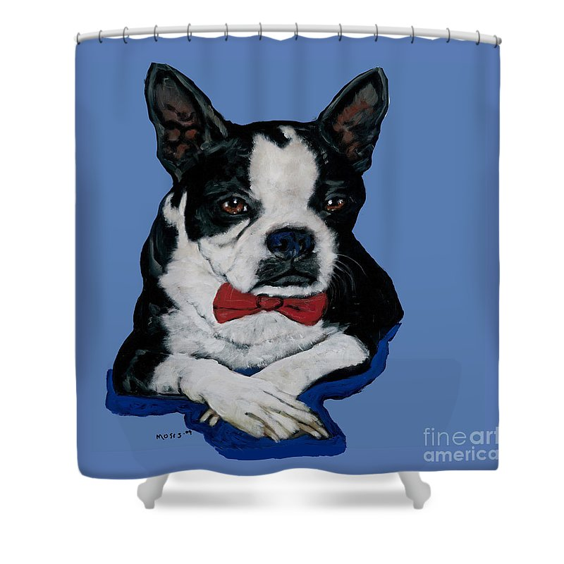Boston Shower Curtain featuring the painting Boston Terrier With A Bowtie by Dale Moses
