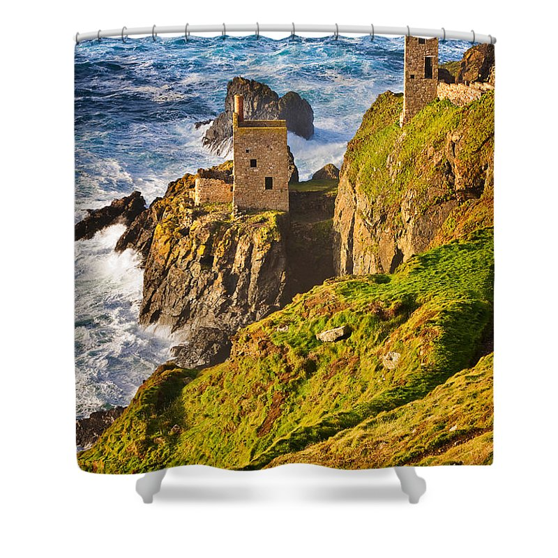 Travel Shower Curtain featuring the photograph Botallack by Louise Heusinkveld