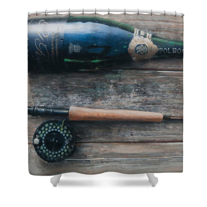 Bottle; Bottles; Champagne; Champagne Bottle; Rod; Fishing; Fishing Rod; Celebration; Planks Shower Curtain featuring the painting Bottle And Rod I by Lincoln Seligman