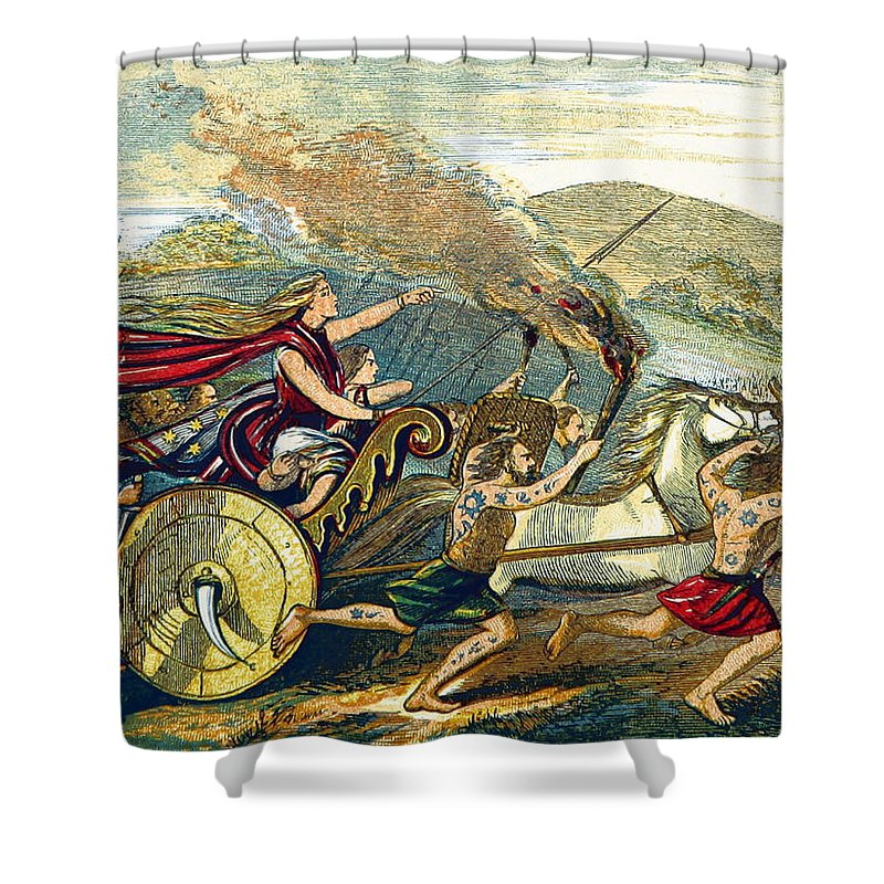 History Shower Curtain Featuring The Photograph Boudica Leading British Tribes 60 Ad By Library