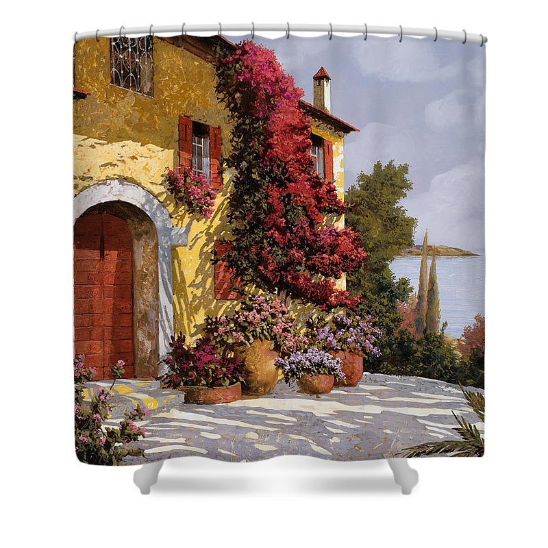 Bouganville Shower Curtain featuring the painting Bouganville by Guido Borelli