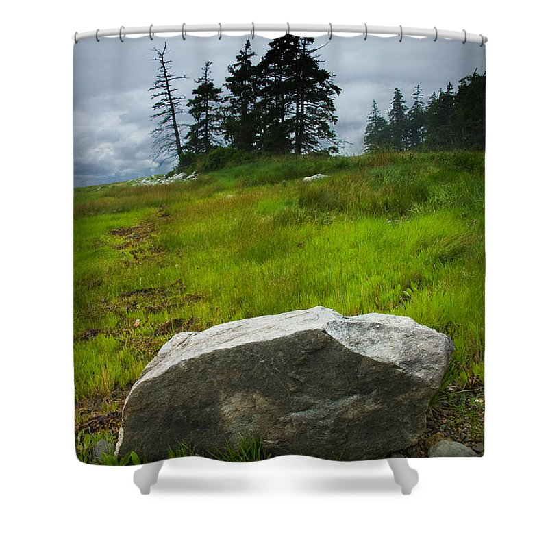 Art Shower Curtain featuring the photograph Boulder On The Shore At The Mount Desert Narrows In Maine by Randall Nyhof