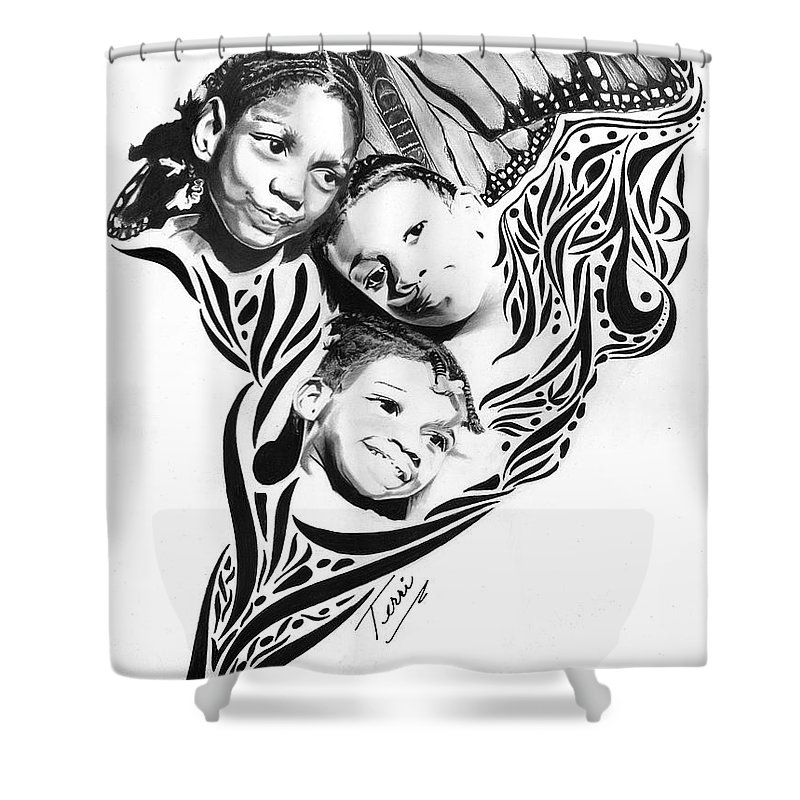 Little Shower Curtain featuring the drawing Bouquet Of Butterflies by Terri Meredith