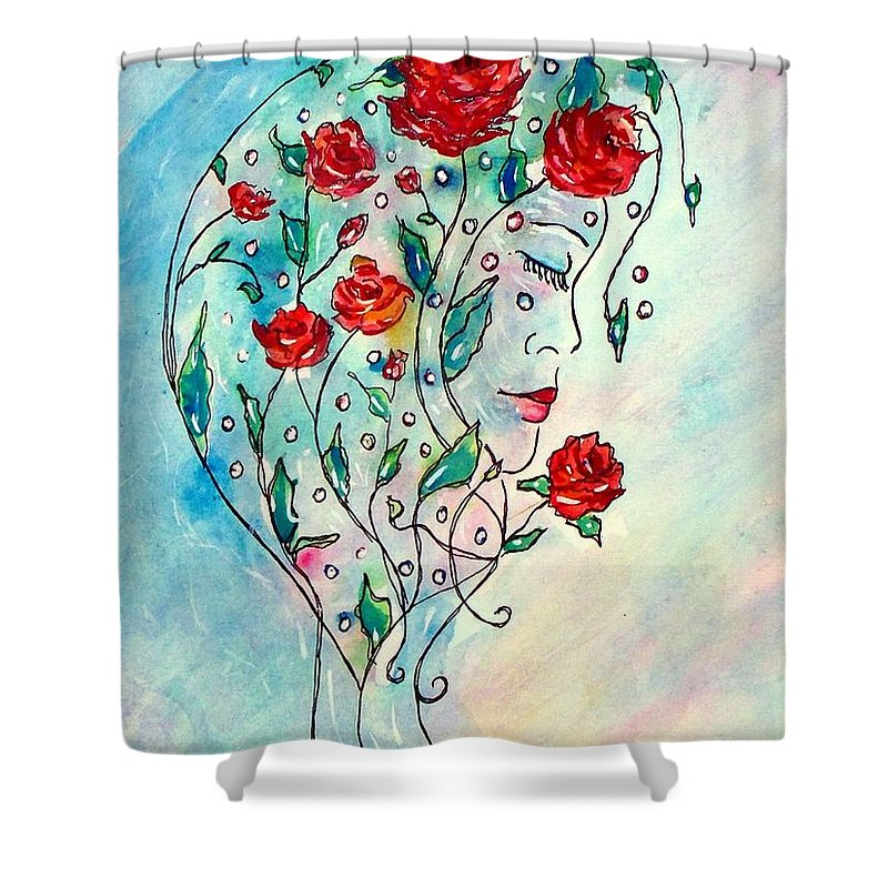 Bouquet Shower Curtain featuring the painting Bouquet Of Love by Robin Monroe