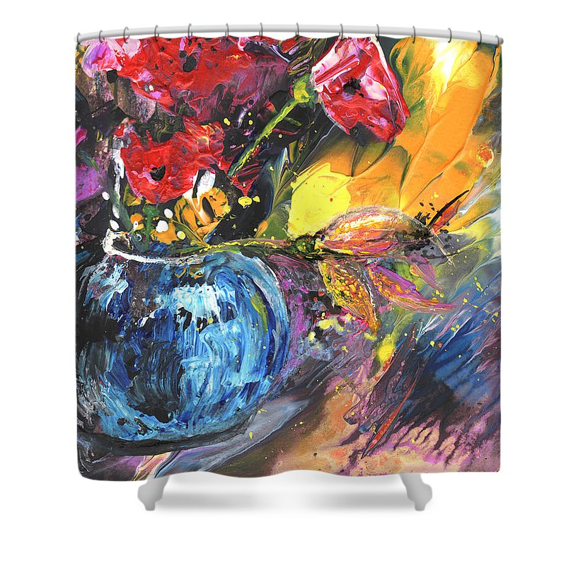 Flowers Shower Curtain featuring the painting Bouquet With Black Tulip by Miki De Goodaboom