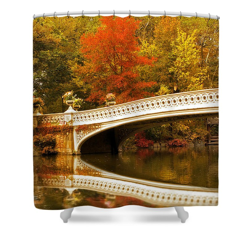 Bow Bridge Shower Curtain featuring the photograph Bow Bridge Beauty by Jessica Jenney