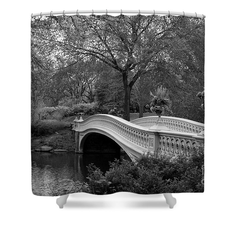 Bridge Shower Curtain featuring the photograph Bow Bridge Nyc In Black And White by Christiane Schulze Art And Photography