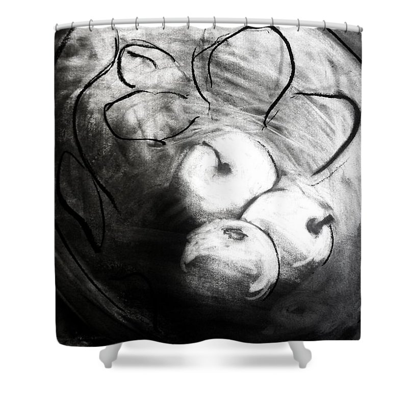 Fruit Shower Curtain featuring the drawing Bowl by Helen Syron