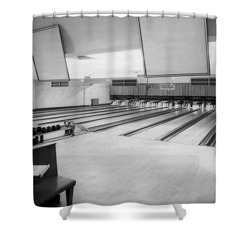 1950s Shower Curtain featuring the photograph Bowling Alley Interior by Underwood Archives
