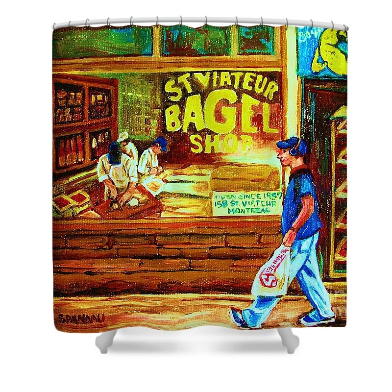 St.viateur Bagel Shower Curtain featuring the painting Boy With The Steinbergs Bag by Carole Spandau