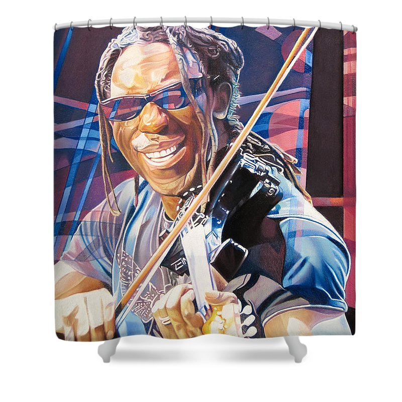 Boyd Tinsley Shower Curtain featuring the drawing Boyd Tinsley And 2007 Lights by Joshua Morton