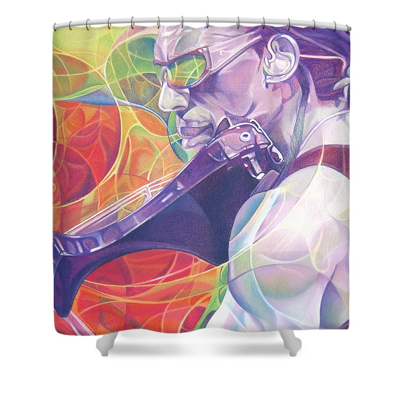 Boyd Tinsley Shower Curtain featuring the drawing Boyd Tinsley And Circles by Joshua Morton