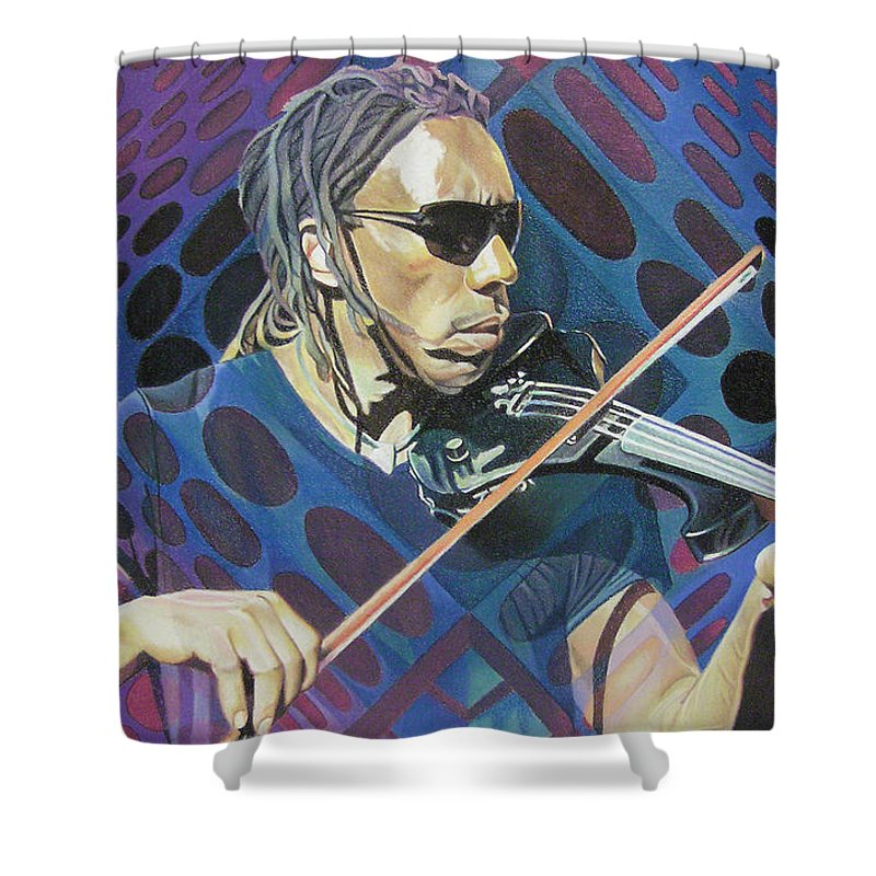 Boyd Tinsley Shower Curtain featuring the drawing Boyd Tinsley-op Art Series by Joshua Morton