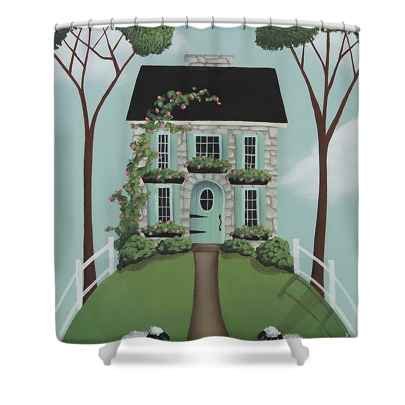 Art Shower Curtain featuring the painting Brambleberry Cottage by Catherine Holman