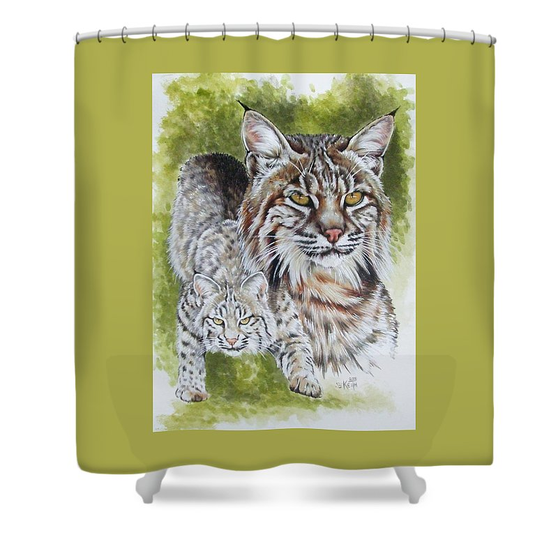 Small Cat Shower Curtain featuring the mixed media Brassy by Barbara Keith
