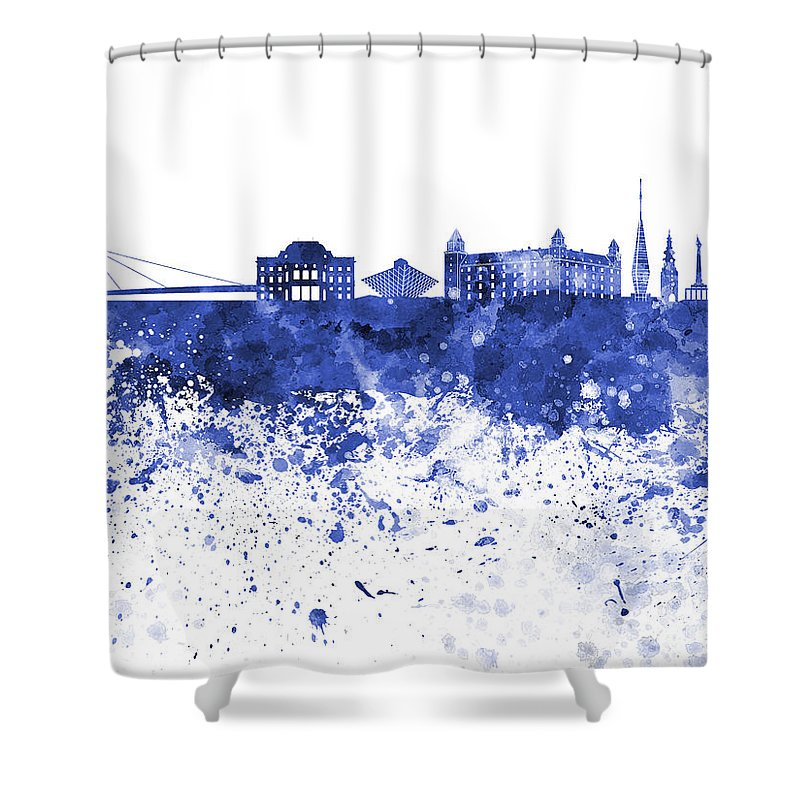 Bratislava; Bratislava Skyline; Abstract; Architecture; Art; Background; Bright; Cityscape; Color; Colorful; Creativity; Europe; Grunge; Illustration; Ink; Landmark; Monuments; Paint; Panoramic; Paper; Skyline; Slovakia; Splash; Splatter; Texture; Vintage; Watercolor Shower Curtain featuring the painting Bratislava Skyline In Blue Watercolor On White Background by Pablo Romero