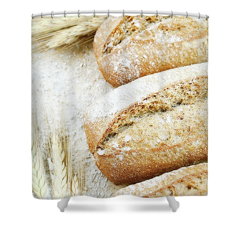 Breakfast Shower Curtain featuring the photograph Bread by Cactusoup