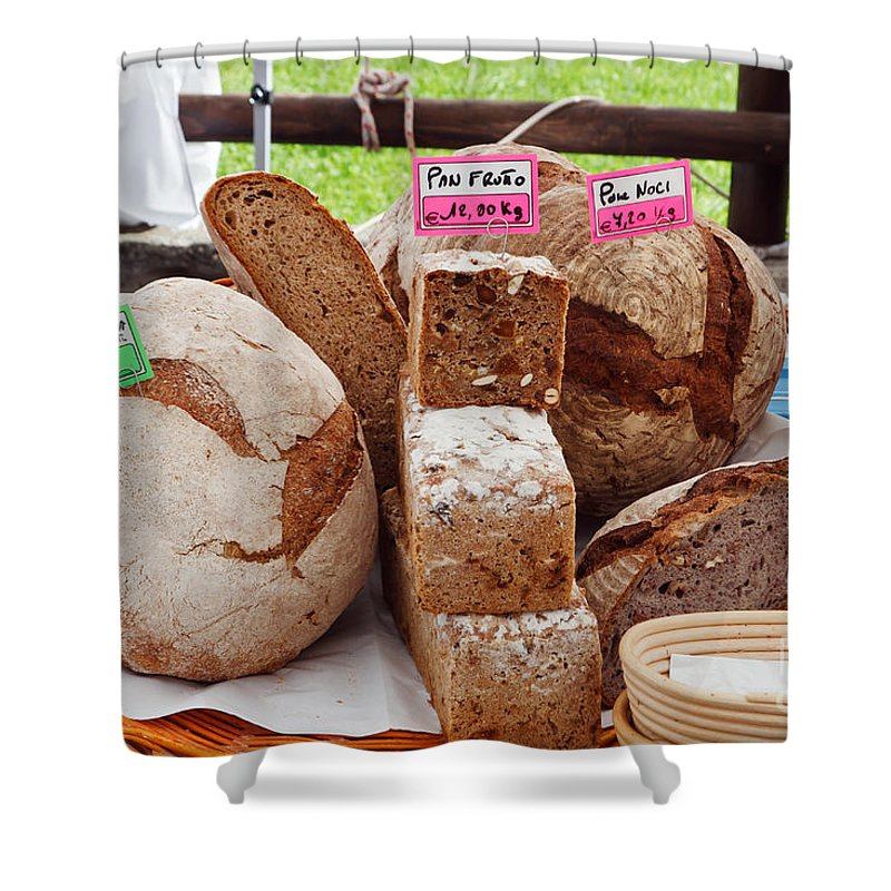 Baked Shower Curtain featuring the photograph Bread On Local Market by Antonio Scarpi