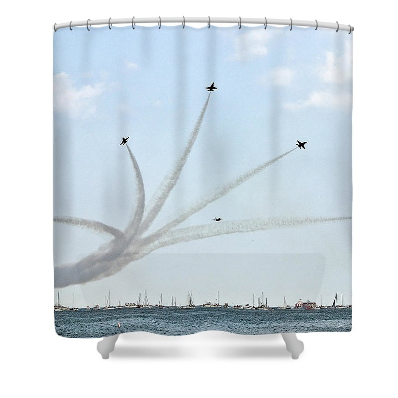Blue Angels Shower Curtain featuring the photograph Breakaway by Rick Selin