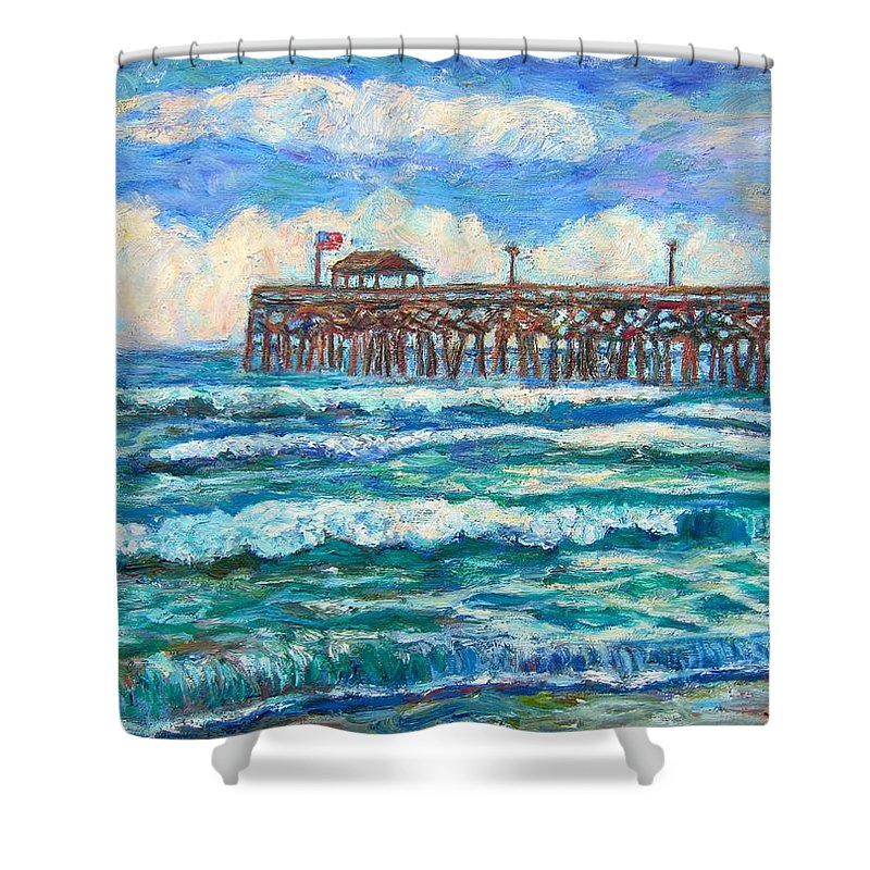 Shore Scenes Shower Curtain featuring the painting Breakers At Pawleys Island by Kendall Kessler