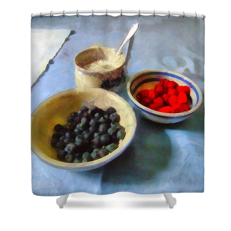 Kitchen Shower Curtain featuring the painting Breakfast In Red White And Blue by RC DeWinter