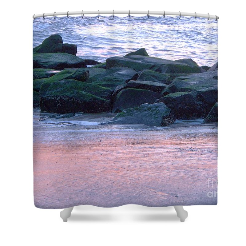 Breakwater Shower Curtain featuring the photograph Breakwater Rocks At Sunset Beach Cape May by Eric Schiabor