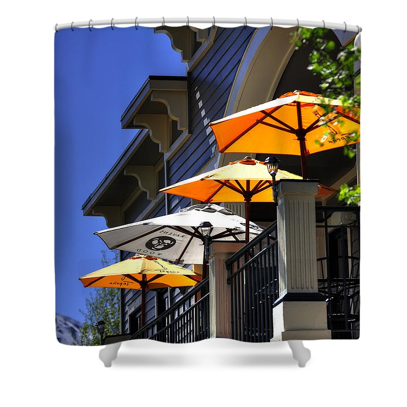 Umbrellas Shower Curtain featuring the photograph Breckenridge Umbrellas 6070 by Jerry Sodorff