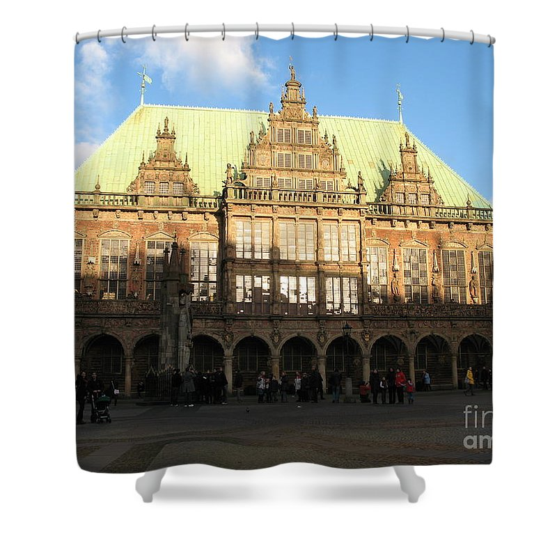 Cityhall Shower Curtain featuring the photograph Bremen Town Hall Germany by Christiane Schulze Art And Photography