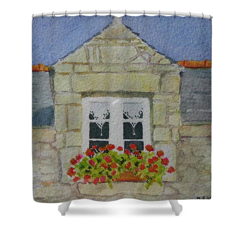 France Shower Curtain featuring the painting Bretagne Window by Mary Ellen Mueller Legault