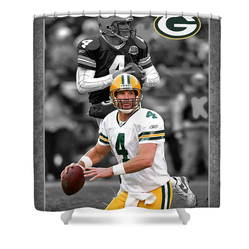 Brett Favre Shower Curtain Featuring The Photograph Packers By Joe Hamilton