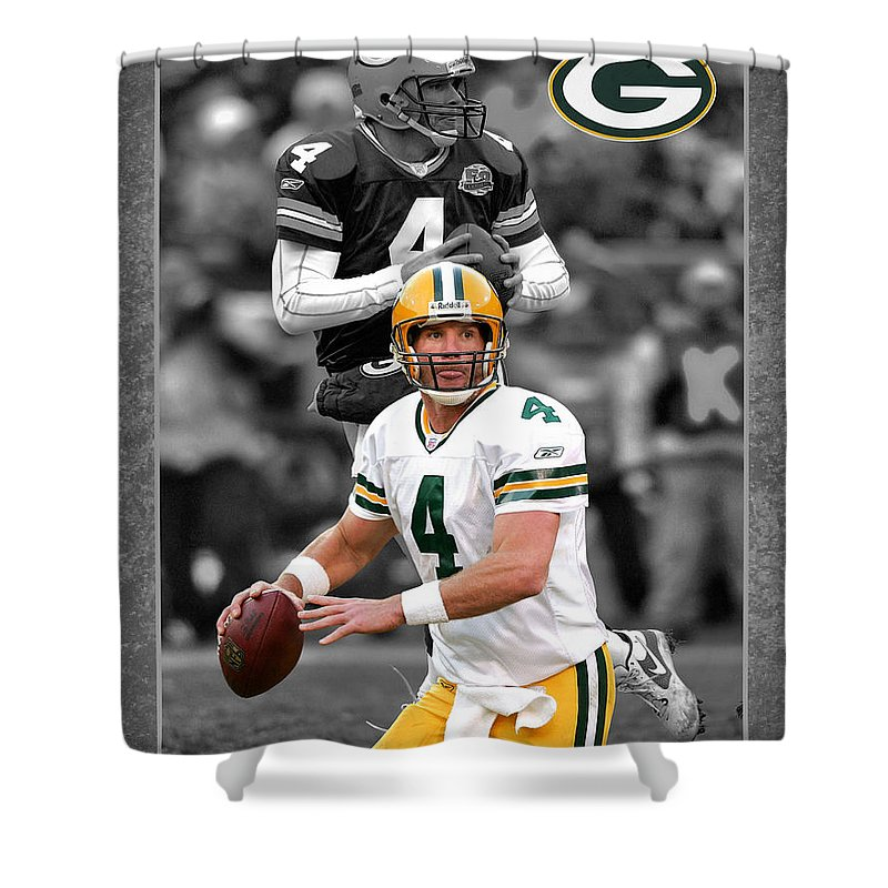 Brett Favre Shower Curtain Featuring The Photograph Packers By Joe Hamilton