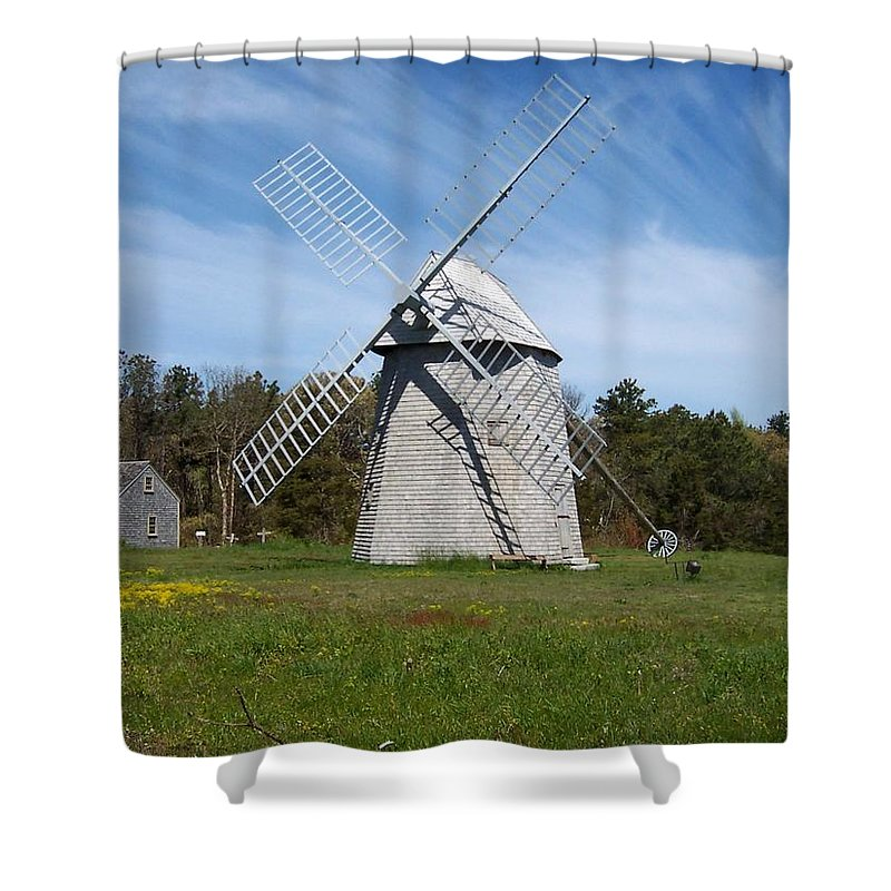 Brewster Shower Curtain featuring the photograph Brewster Windmill by Catherine Gagne