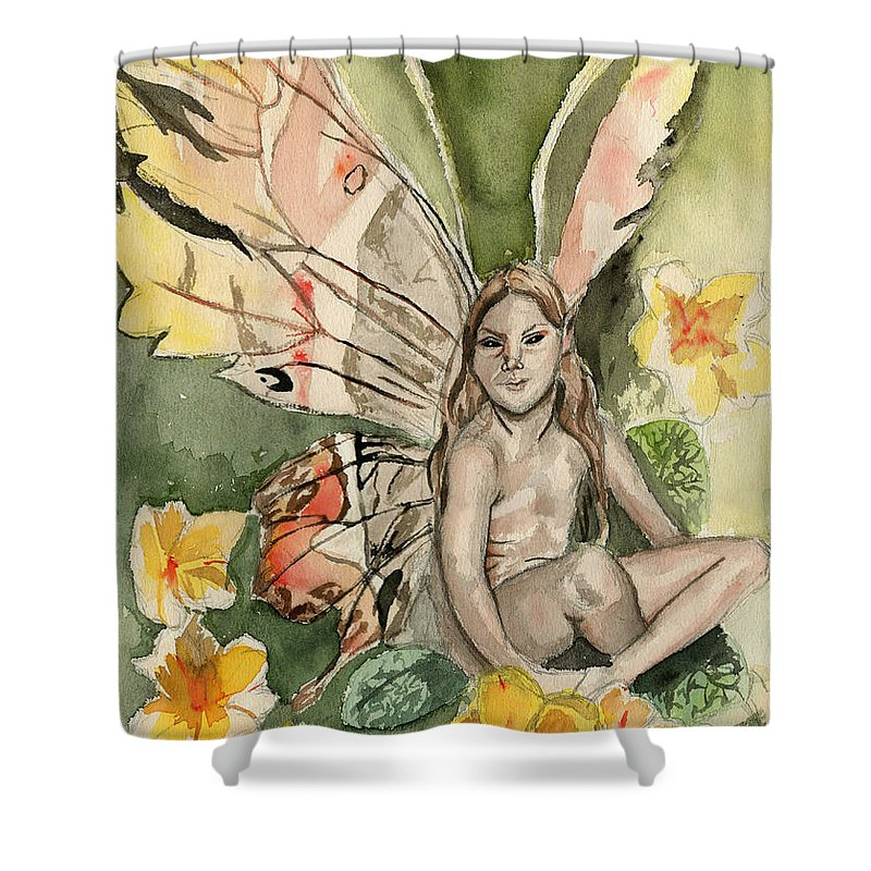 Faerie Shower Curtain featuring the painting Brian Froud Faerie by Genevieve Esson