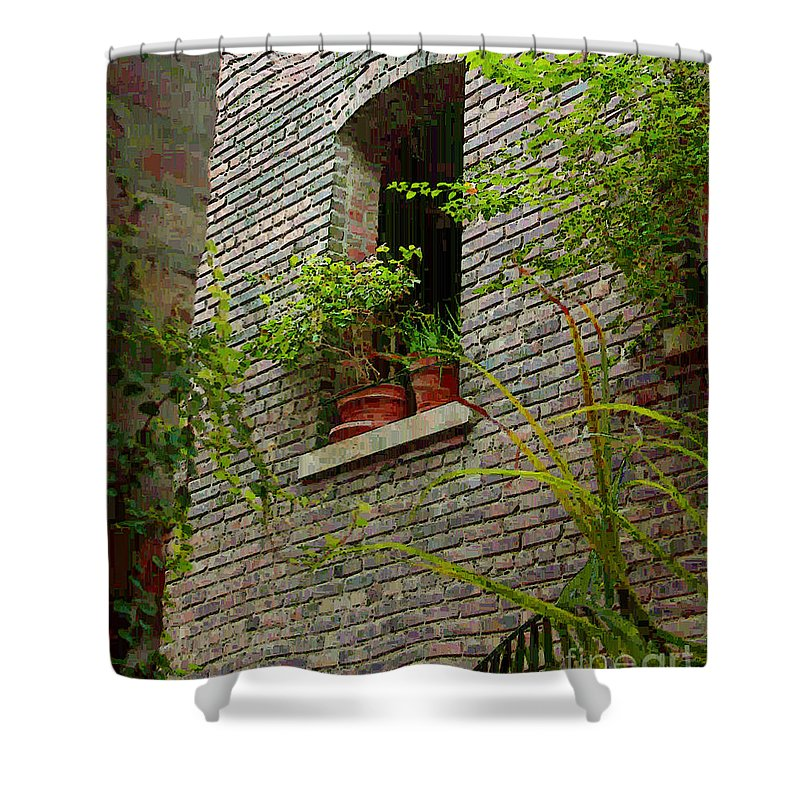 Window Shower Curtain featuring the painting Brick With Greenery by RC DeWinter
