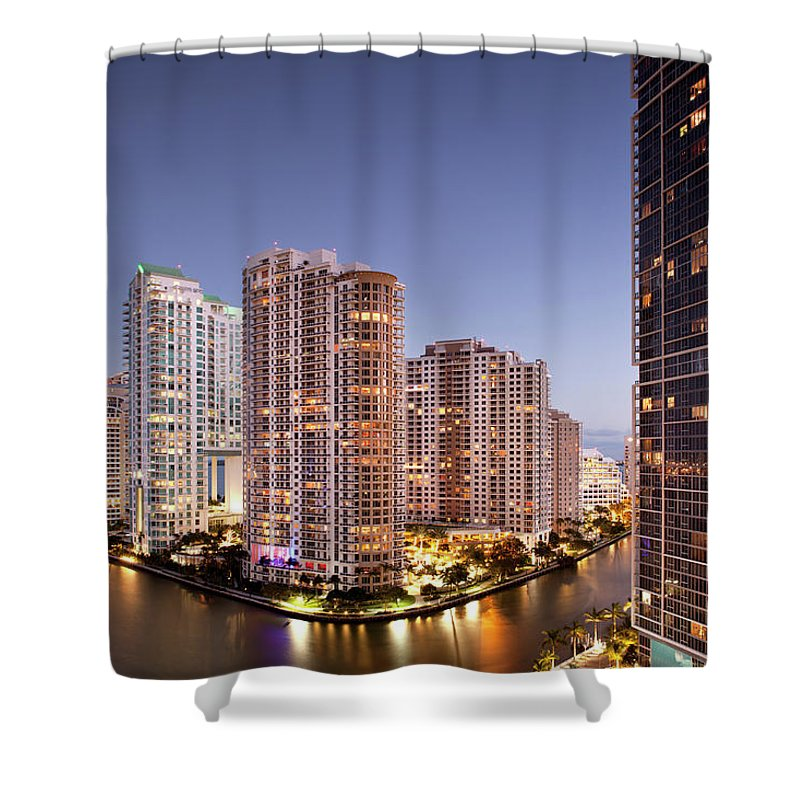 Apartment Shower Curtain featuring the photograph Brickell Key Island, Downtown Miami, At by Marcaux