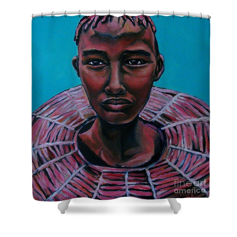 Red Shower Curtain featuring the painting Bride - Portrait African by Grace Liberator