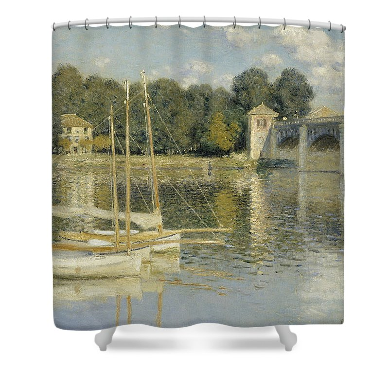 Bridge At Argenteuil Shower Curtain featuring the digital art Bridge At Argenteuil by Georgia Fowler