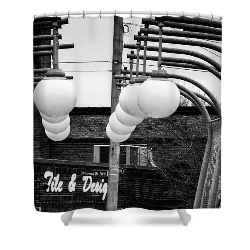 Black And White Shower Curtain featuring the photograph Bridge Globes by Jay Ressler