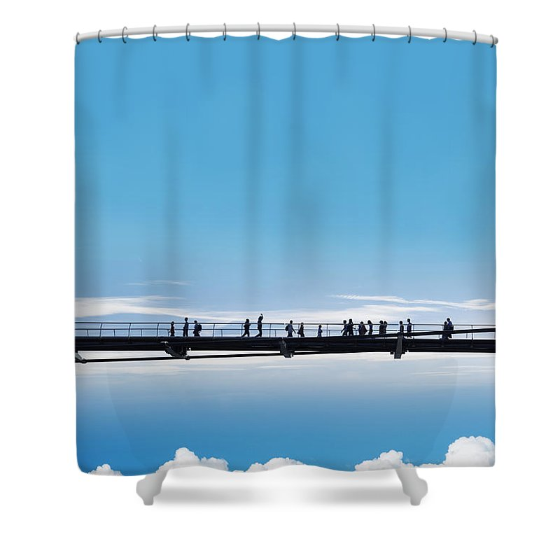Bridge Shower Curtain featuring the photograph Bridge High In The Sky by Chevy Fleet