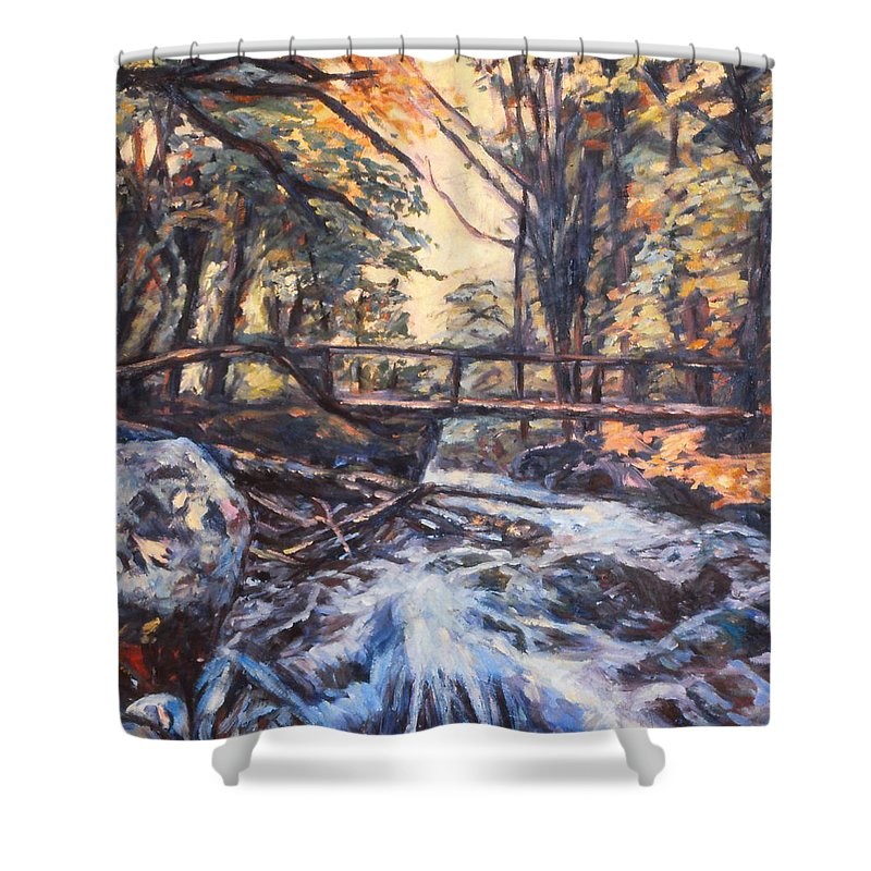 Creek Shower Curtain featuring the painting Morning Bridge In Woods by Kendall Kessler