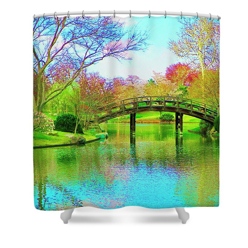 Bridge Shower Curtain featuring the painting Bridge Over Lake In Spring by Susanna Katherine