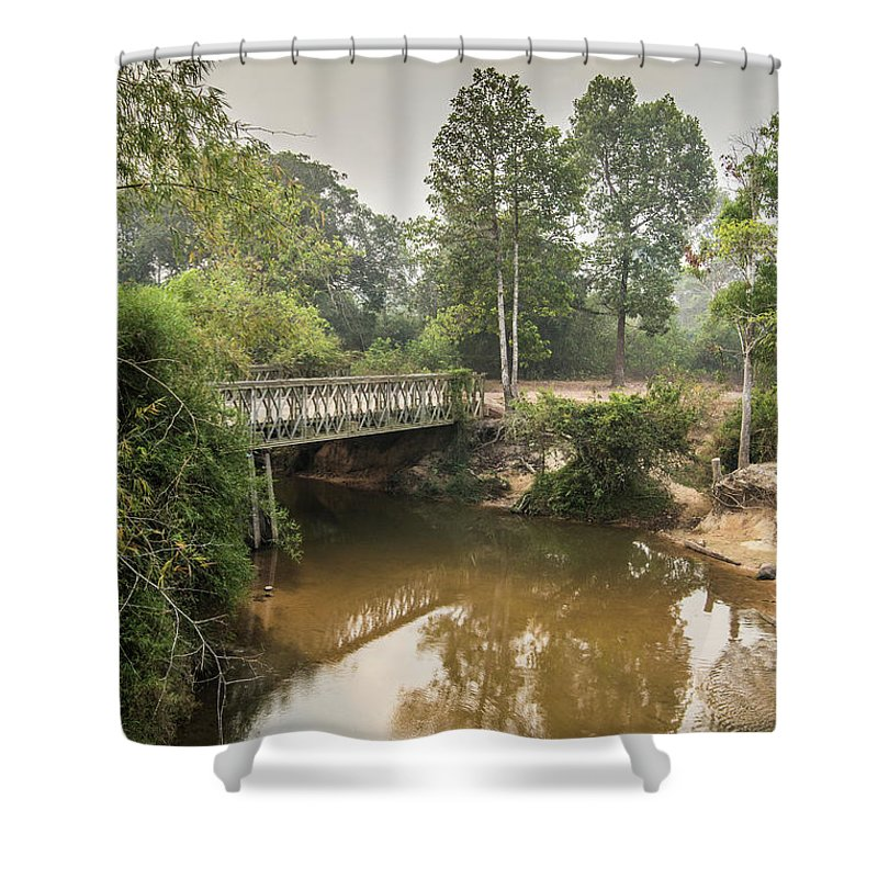 Tranquility Shower Curtain featuring the photograph Bridge Over Siem Reap River On The Road by Cultura Exclusive/gary Latham