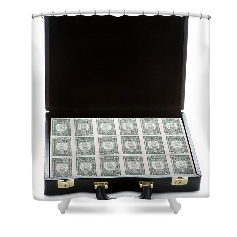 Money Shower Curtain featuring the photograph Briefcase Full Of Money by Lee Avison