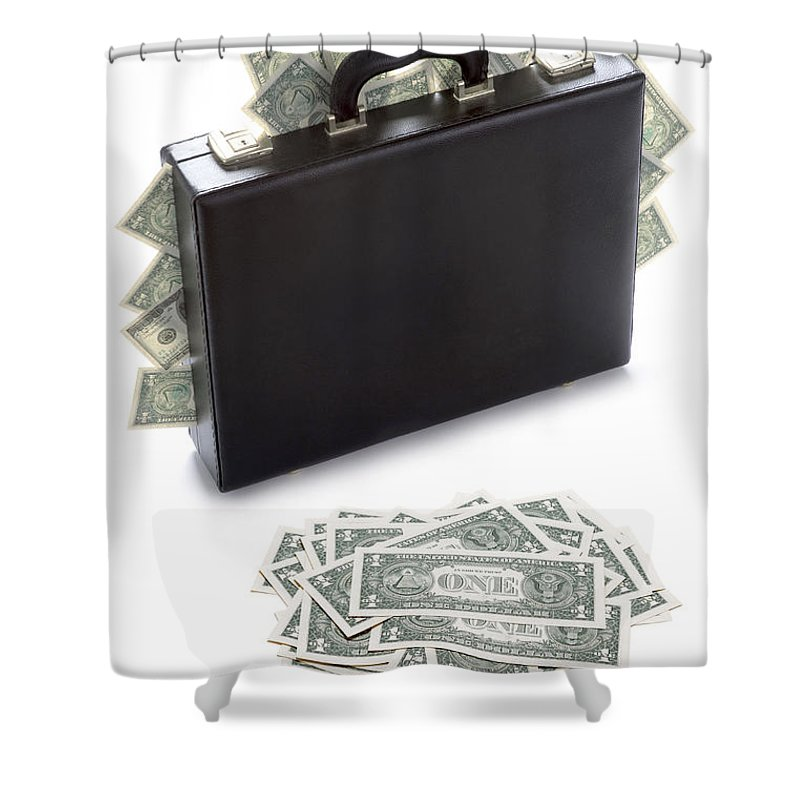 Money Shower Curtain featuring the photograph Briefcase Stuffed With Dollar Bills by Lee Avison