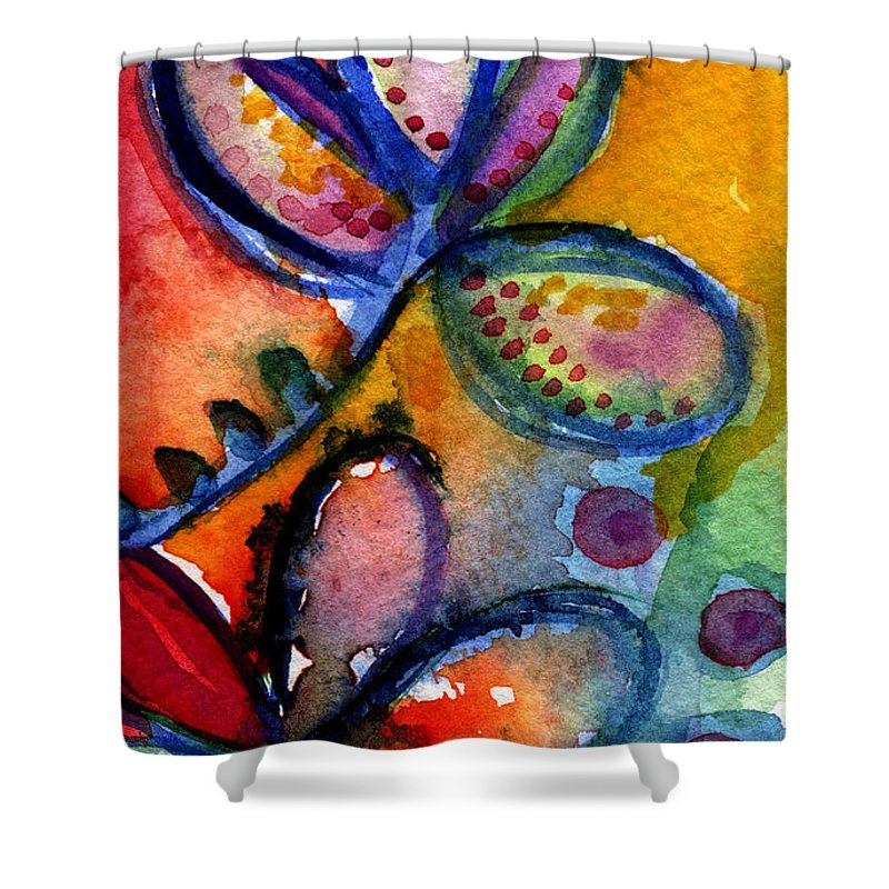 Abstract Shower Curtain featuring the painting Bright Abstract Flowers by Linda Woods