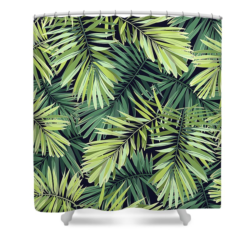 Tropical Rainforest Shower Curtain featuring the digital art Bright Green Background With Tropical by Msmoloko